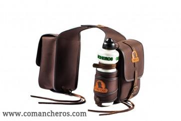 Doppeltasche aus Nylon mit Feldflasche