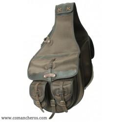 Größe Satteltasche mit vier taschen aus wasserfestem Cordura STC und Leder