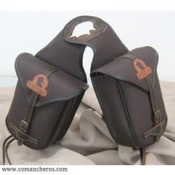 Doppelte Hornsatteltasche für Westernsattel aus spezialnylon und Leder