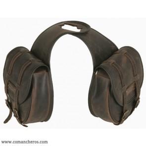 Doppelte Horn satteltasche mit Schnallen aus Leder