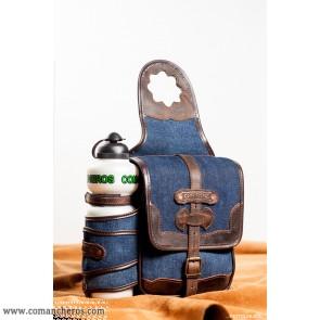 Westernhorn Satteltasche aus jeansstoff mit flasche