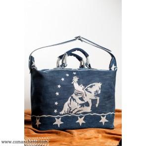 Reisetasche western modell aus Jeanstoff und Leder