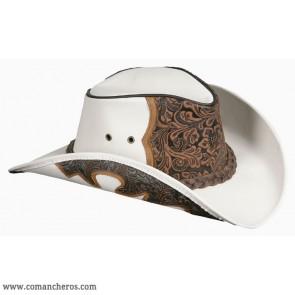Country-Hut aus Leder mit Blumenmuster