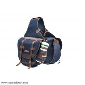Große Jeans Satteltasche mit Wasserflasche