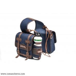 Mittlere Jeans-Satteltasche mit Wasserflasche