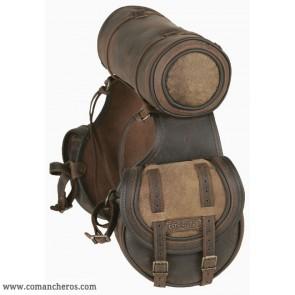 Runde Satteltaschen mit Westernklappe und Roll