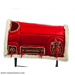 Satteldecke aus rotem Leder