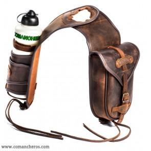 Satteltasche mit Feldflaschenhalter Leder